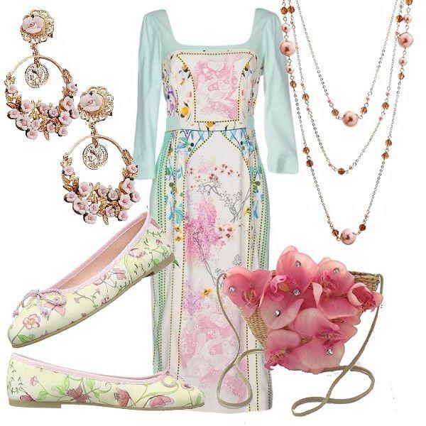 """Un outfit """"fatato"""" che sembra uscito da uno dei disegni di Cicely Mary Barker! Abito scollo tondo manica 3/4 sfondo verde acqua in una delicata fantasia floreale. Ballerina fiorata, piccola borsa in paglia con fiori applicati."""