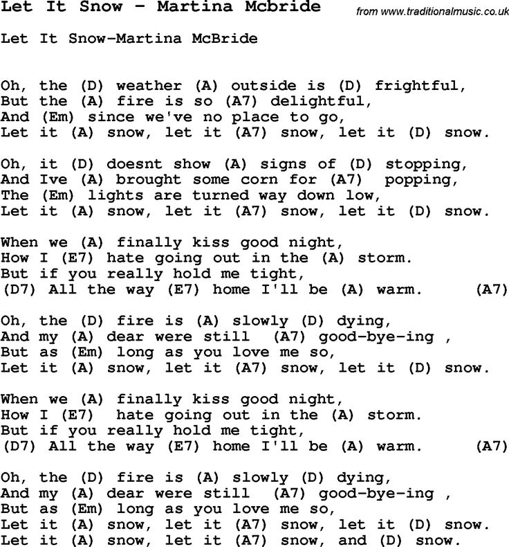 Song Let It Snow by Martina Mcbride, with lyrics for vocal performance and accompaniment chords for Ukulele, Guitar Banjo etc.
