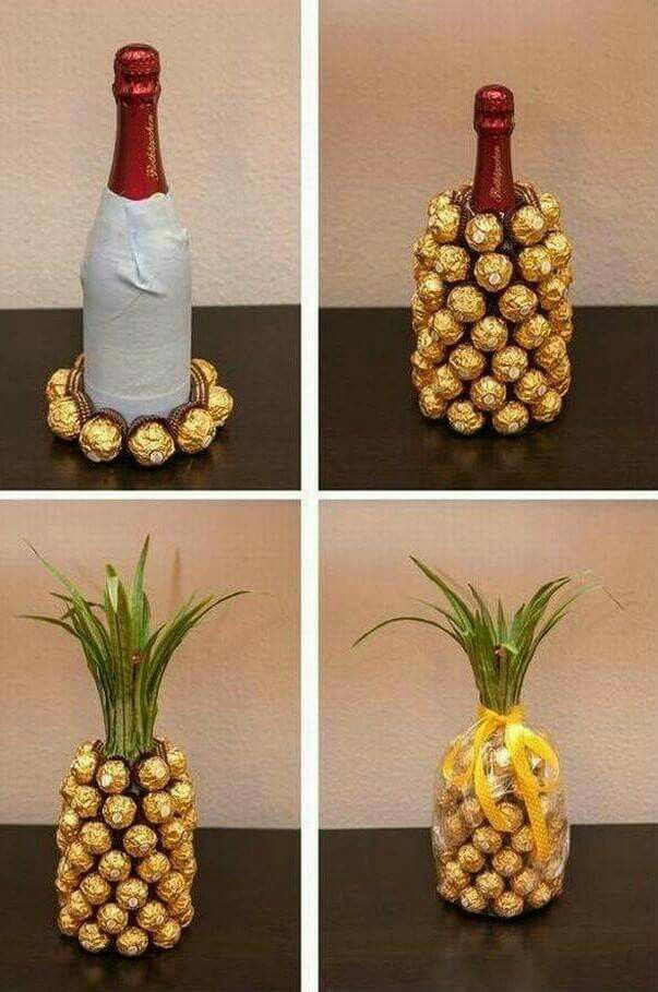 Cute idea! Pineapple Wine bottle gift