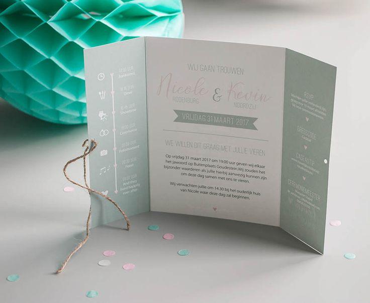 Trouwkaart Kevin & Nicole - Ontwerp Marjolein Vormgeving #trouwkaart #ontwerp #opmaat #trouwkaarten #persoonlijk #kaarten #trouwen #mint #mintgroen #roze #luikvouw #kaart