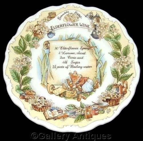 Royal Doulton BRAMBLY HEDGE recipe ELDERFLOWER WINE barklem 8  wall PLATE 1st