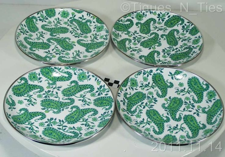 Set 4 Pottery Barn Partyware Enamelware Green Paisley