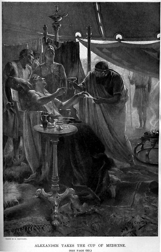 Alexander hands his doctor the note warning that his doctor is poisoning him whilst proceeding to take the medicine, by Andre Castaigne (1898-1899)
