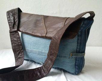 sac en jeans recyclé, sac denim, sac Jean et cuir, sac recyclé, cuir, sac en Jean, manbag, sac en cuir recyclé, récupéré, Jean