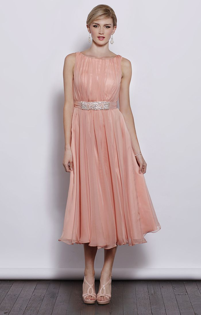 Sleeveless round neck chiffon tea length bridesmaid dress-I wish I had a special wedding to wear this to, purdy!