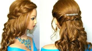Curly romantic prom hairstyle for medium long hair. - YouTube