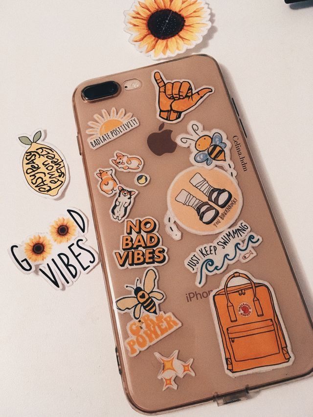 d6af22b72c @bhavyaanoop - phone case #stickers #happy #retro #trendy #phonecase  #clearcase #clear #yellow #birkenstock #kanken