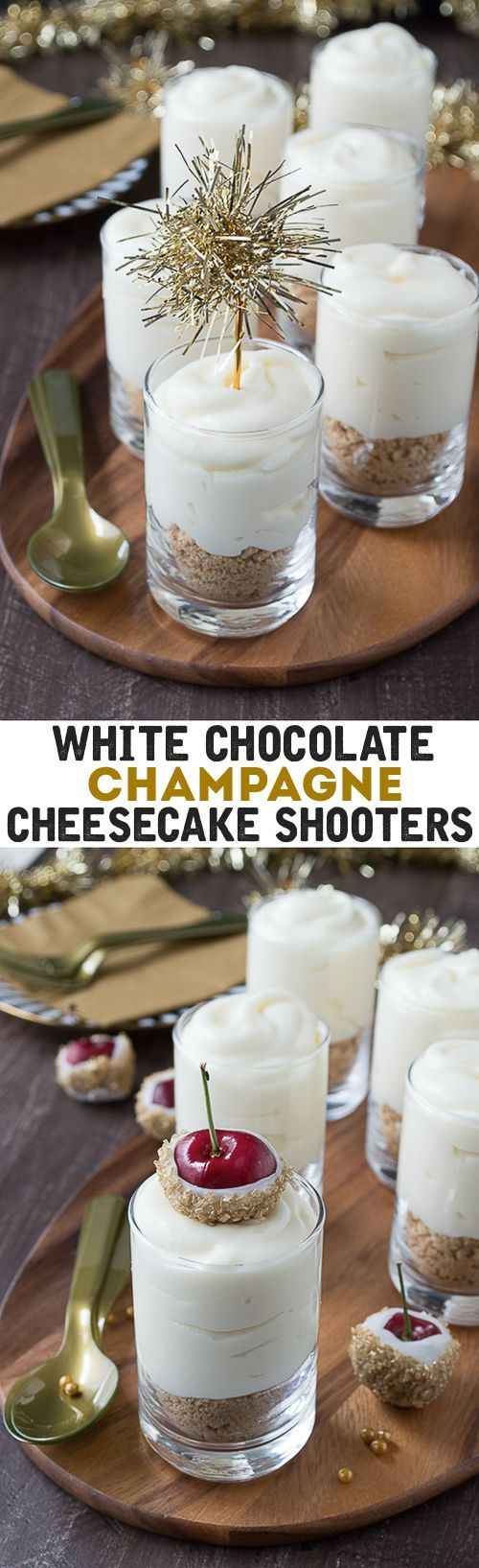 Make these fancy and easy white chocolate champagne cheesecake shooters for New Years Eve! I LOVE the choice between the gold tinsel toppers and the cherries dipped in gold sprinkles!