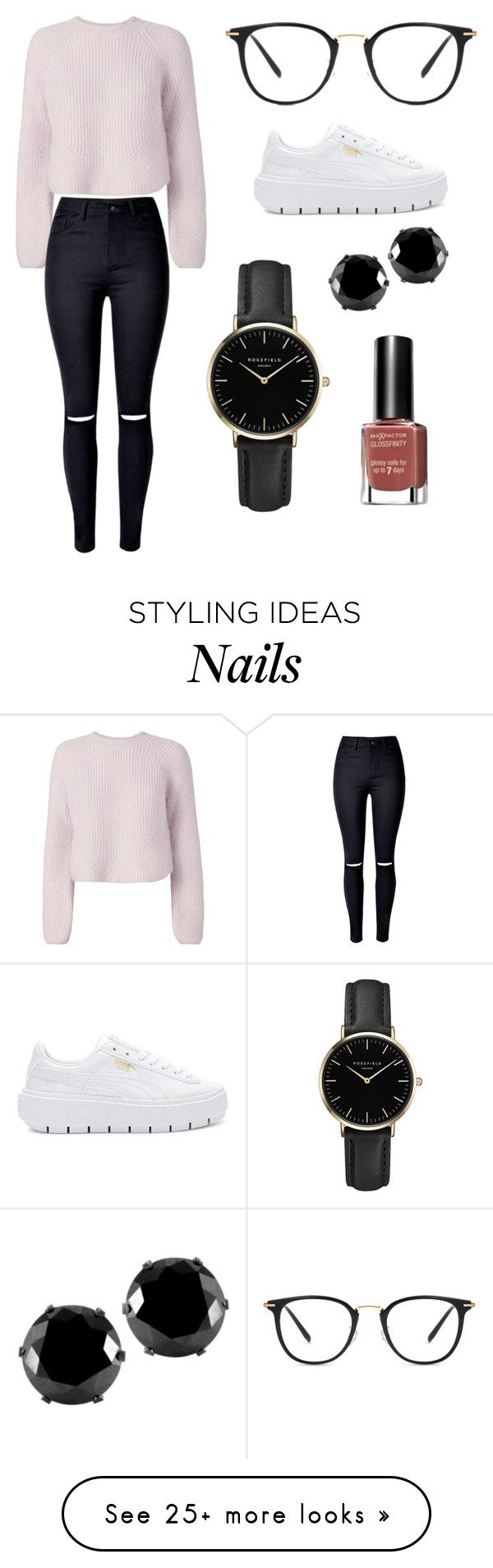 """""""Sans titre #10023"""" by yldr-merve on Polyvore featuring Intermix, WithChic, Puma, ROSEFIELD, West Coast Jewelry and Max Factor"""