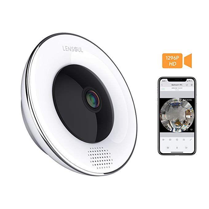 Lensoul 3 Mega Pixel Security Camera Wireless Ip Camera 360 Degree 2 4ghz Fisheye Camera Built In Two Way Audio Motio Wireless Ip Camera Ip Camera 360 Camera