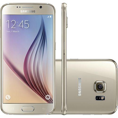 """Samsung Galaxy S6 Dourado Desbloqueado 32GB 4G Android 5.0 Tela 5.1"""" Octa-Core Câmera 16MP - Submarino.com"""