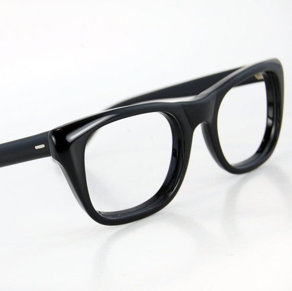Glasses Frames Thick Black : Vintage 50s Men Thick Black Horn Rim Cat Eye Glasses ...