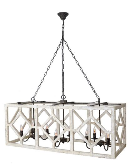This oversized, geometric caged pendant measures four feet across. It's perfect for a large kitchen table or over a kitchen island. Put it as a focal point in a modern farmhouse to add a transitional