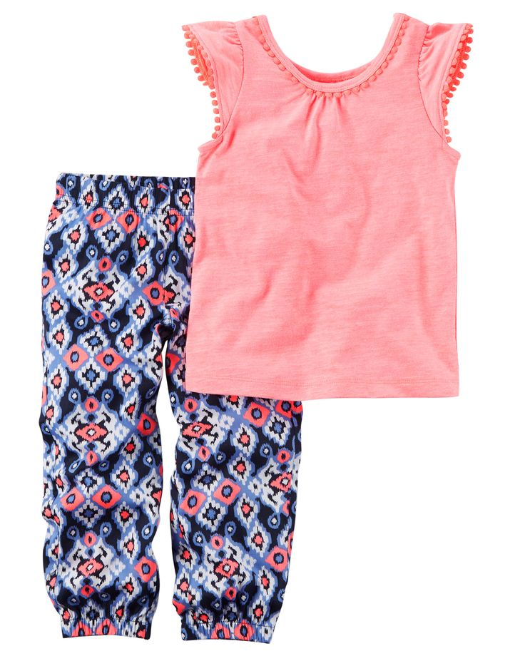 Baby Girl 2-Piece Neon Tank & Printed Jogger Set Featuring a pom-trimmed neon tank and printed joggers, this warm weather combo has her dressed in a breeze.