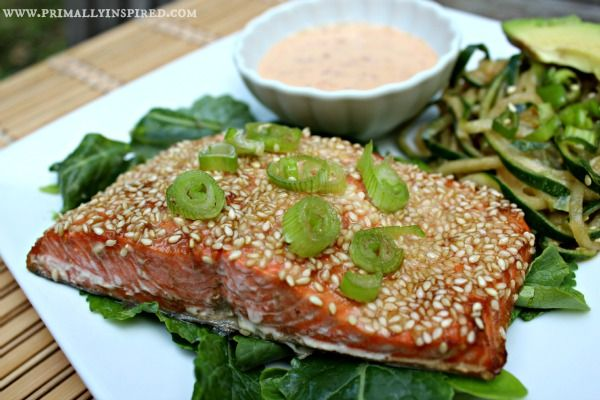 Sesame Crusted Salmon with Japanese Spicy Mayo www.PrimallyInspired.com