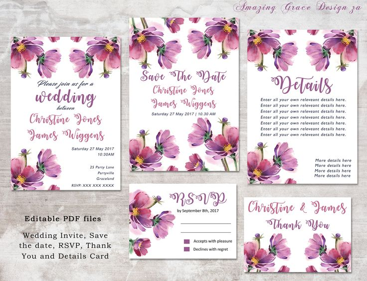 Wedding suite INSTANT DOWNLOAD | Editable Templates | Cosmos Flower | Wedding Invite, rsvp, save the date, invite | Cosmos Collection PDF by AmazingGraceDesignZA on Etsy