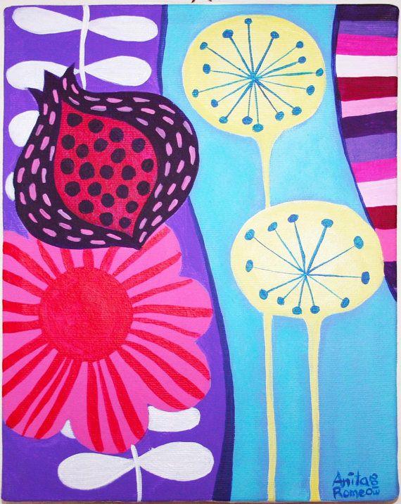Dendalions and flowers, Acrilic on Canvas by Anita Romeo paintings. www.anitaromeo.com