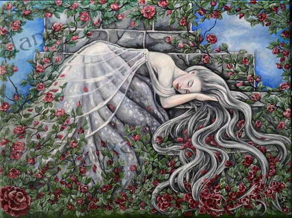 Original oil painting  Sleeping Beauty original art by JankaLart