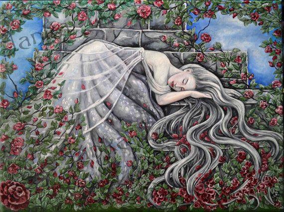 Original oil painting  Sleeping Beauty original art by JankaLart