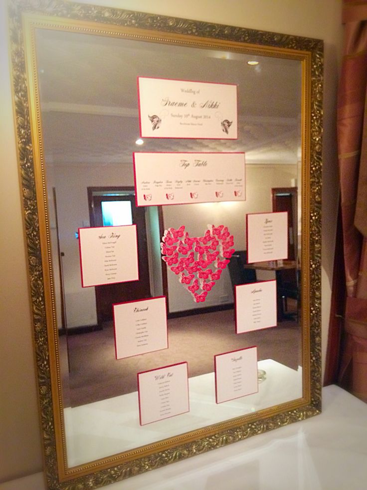 Mirror table plan. Butterfly theme. Red pearl butterfly heart feature sets this off perfectly! By Made Marvellous