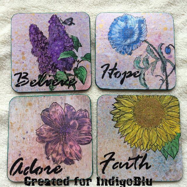 Birdcage Craft Studio Coasters decorated with IndigoBlu Stamps & Stencils
