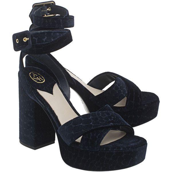 ASH Boom Velvet Navy // Velvet high-heeled sandal (€89) ❤ liked on Polyvore featuring shoes, sandals, heels, high heeled footwear, ankle strap sandals, navy blue high heel sandals, wide heel sandals and crocs sandals