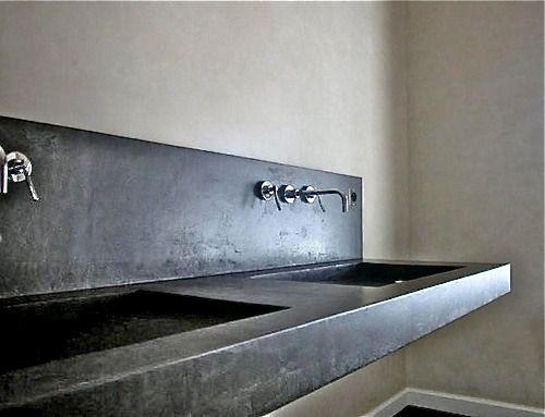 lavamano doble en microcemento