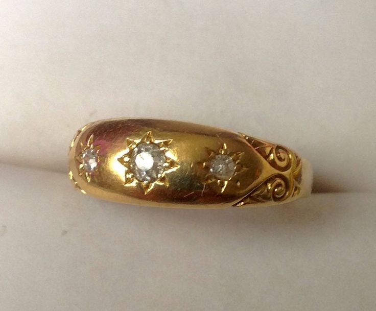 #etsy shop: Antique Edwardian 18ct Gold Three Diamond Gypsy Ring, Genuine Diamond Trilogy Ring http://etsy.me/2hPcxJM #jewellery #ring #anniversary #gold #women #colourless #diamond #no #round