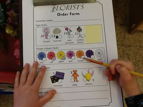 Flower Shop Order Form Preschool Dramatic Play