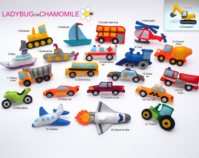 VÉHICULES et transports feutre aimants - prix pour 1 article fabriquer votre propre jeu - voiture, vélo, Train, sous-marin, navette spatiale, camion, bateau, Bulldozer