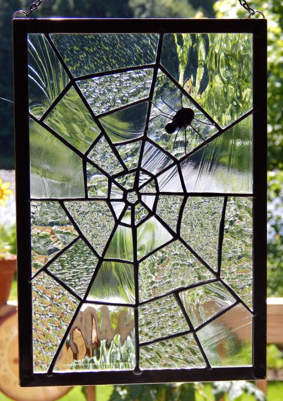 Stained Glass Spider Web with Black Widow by RedfordGlassStudio