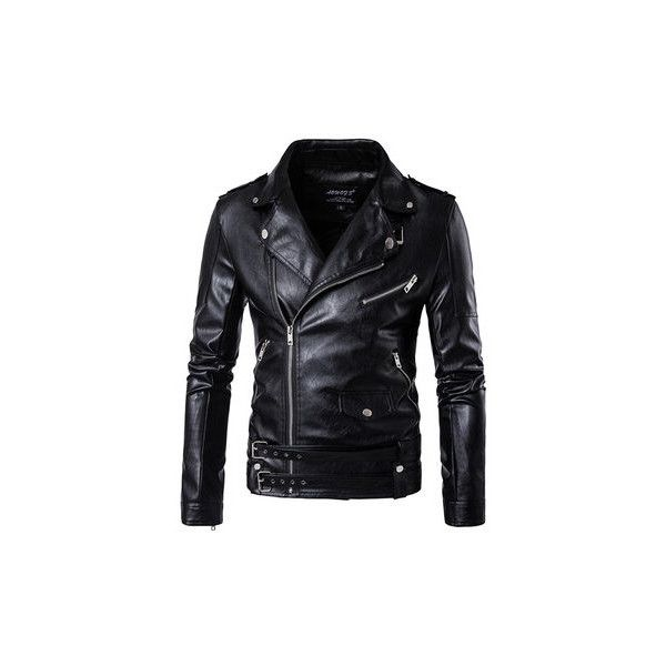 Plus Size PU Leather Jackets featuring polyvore, men's fashion, men's clothing, men's outerwear, men's jackets, black, mens pleather jacket, mens zip jacket, mens motorcycle jacket, mens collared jacket and mens zipper jacket