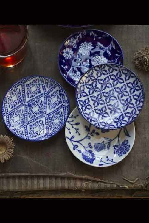 Set of four Handpainted Blue Dishes  Set of 4 Mixed Patterns.