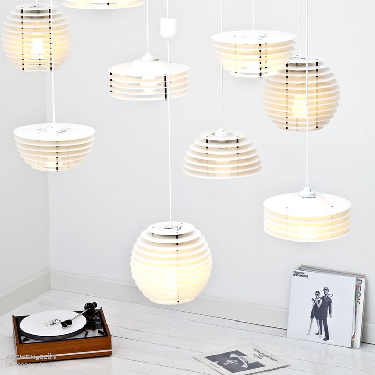 Recycled vinyl records turned into ceiling lamps.