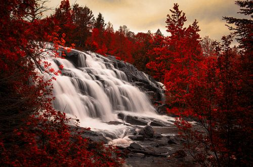 http://meriamber.tumblr.com/ waterfall red tree trees sky surreal fire scenery landscape photography