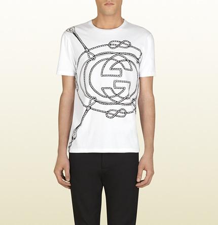 Camiseta de algodón blanco estampada - Gucci