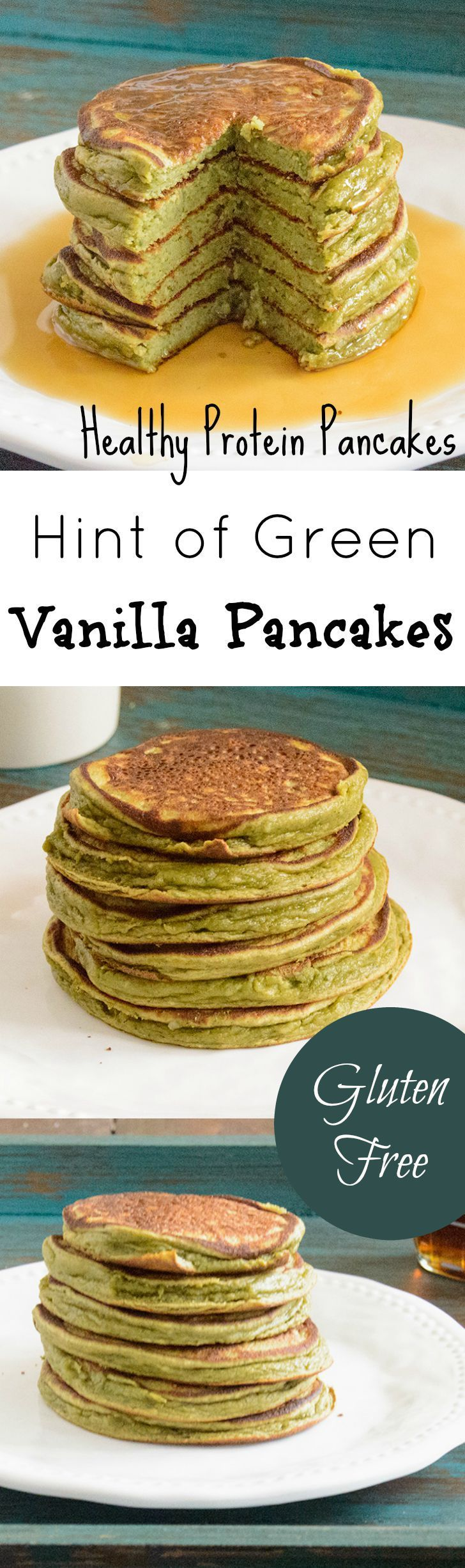 Super simple protein pancakes. These pancakes are gluten free, packed with protein and super fluffy and easy to make! Made with Vega One vanilla protein powder, these healthy pancakes are perfect for breakfast or breakfast for dinner!