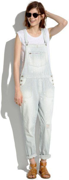 Pin for Later: The Ultimate Spring Denim Guide Overalls Madewell Park Overalls in Fade Stripe ($150)