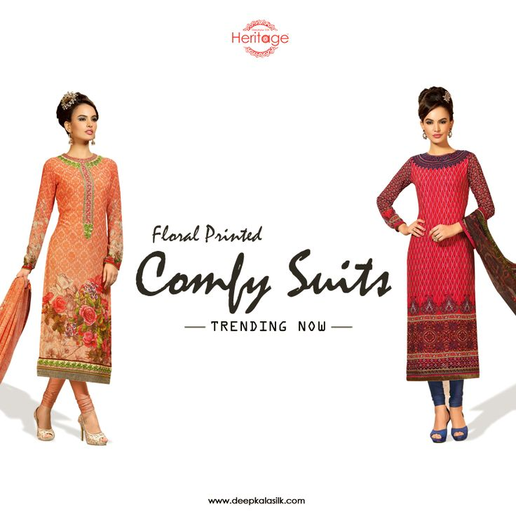Comfort is the new sexy! Feel comfortable and look glamorous with #DeepkalaSilk's floral printed Salwar suits. Shop for trendy suits here.