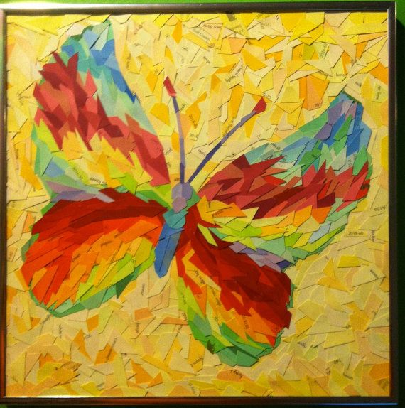 """Rainbow Series: Butterfly Paint Sample Art Collage - Handmade Framed Abstract Artwork - 12"""" x 12"""" Square Piece"""