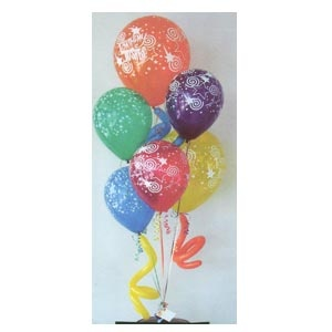 """Includes 12"""" & 16"""" helium filled balloons with """"all around prints"""".  The bouquet is weighted & the balloons are treated with Ultra Hi-Float to last a week or longer. A few animal twisty balloons are added to help create that whimsical effect. This bouquet will make a big splash for someone's special birthday. The balloons can be substituted to celebrate any occasion."""