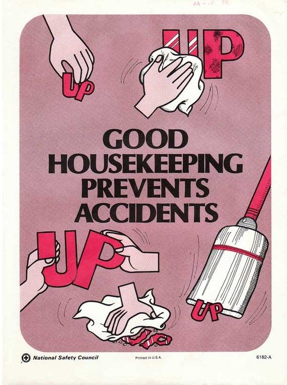 Vintage Work Safety Poster  Good Housekeeping Prevents