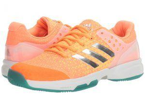 adidas Adizero Ubersonic 2 (Glow Orange/Silver Metallic/Easy Green) Women's Tennis Shoes