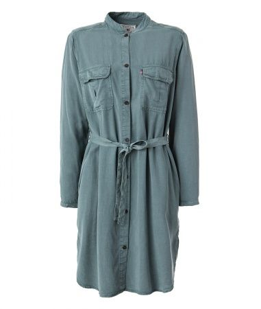 Henrietta Shirt Dress. A green tencel shirt dress, with a shorter front length. Create a feminine silhouette with the belt at the waist, or wear it casual with pants underneath. Find more women fall styles on www.lexingtoncompany.com