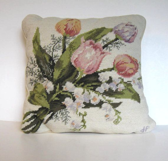 SALE Vintage floral hand stitchd needlepoint by jewelryandthings2, $59.00
