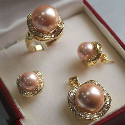 Светло-розовый юг морские раковины жемчужные серьги кольцо ожерелья SetAAA 18 К GP покрытием золото свадебные широкий часы крылья королева JEWE