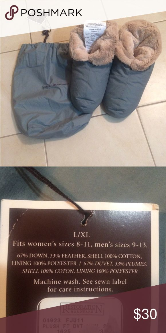 Down slippers from Restoration Hardware Warm & comfortable Blue down slippers by Restoration Hardware. Never worn.. These slippers have been discontinued. Size large/x-large. Fits women's 8-11 & men 9-13. Machine washable. Restoration Hardware Shoes Slippers
