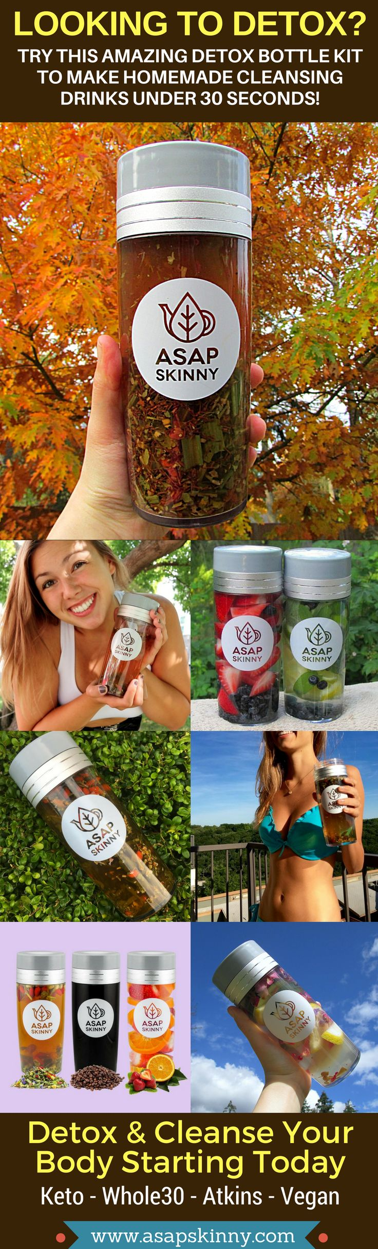 Detox & Cleanse With ASAPSKINNY! Kickstart Your New Healthy Lifestyle Fast & Easy. Our Versatile Detox Infuser Bottle Comes With a FREE Removable Mesh Strainer/Steeper. Use it to Make Loose Leaf Tea, Fruit Infused Water or Coffee. Perfect for Atkins - Keto - Whole30 - Vegan Lovers. Made For On-The-Go Busy People Who Are Looking To Get Fit and Healthy. Cleanse Anywhere, Anytime. Selling Out FAST! SHOP NOW ➡➡➡ www.asapskinny.com