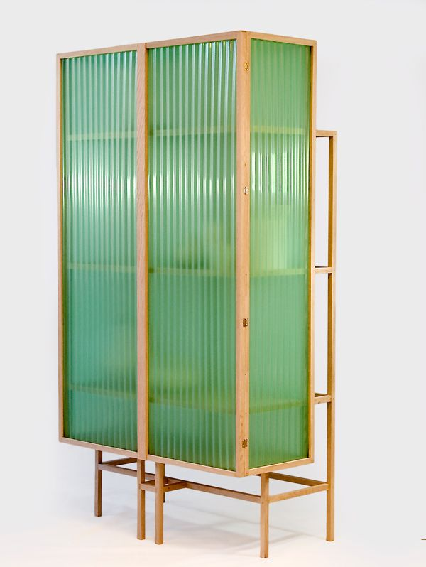 Could use this material and a similar design to make a room divider.  Dik Scheepers . sine cabinet