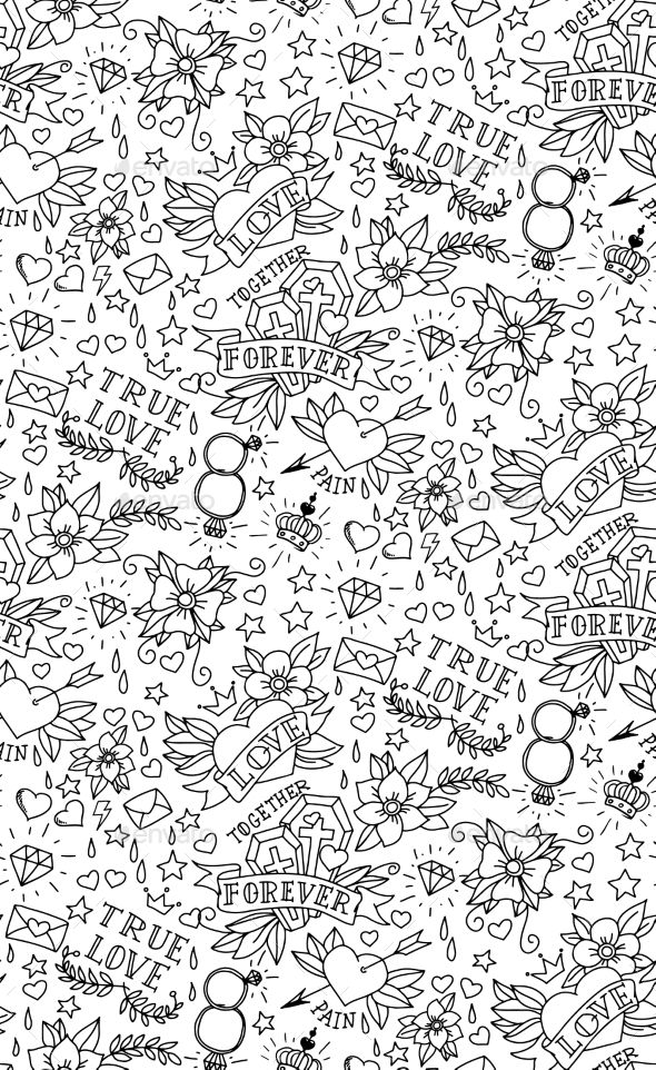 4f6bc6db72d9acb6e357b8833eb337e4 pattern tattoos hand drawn - Hand Drawn Valentine's Day Tattoo Pattern — JPG Image #endless #love • Avail...